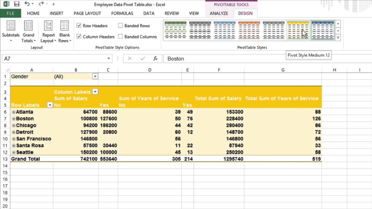 How to format your pivot tables in excel 2013 for dummies for Table design tab excel