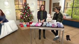 Cuddl Duds Sherpa Lined Cabin Sock Set of 2 on QVC