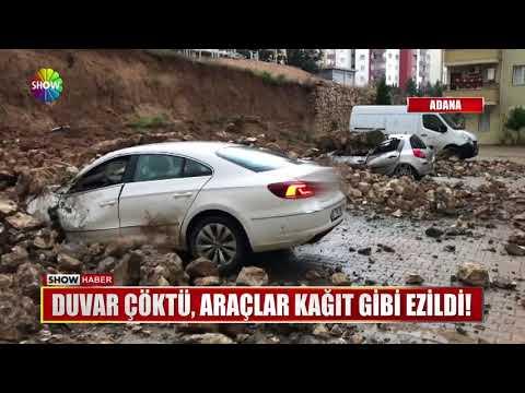 Duvar çöktü, araçlar kağıt gibi ezildi!