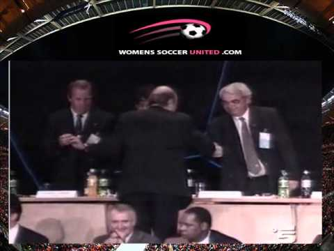 FIFA president Sepp Blatter falling off a stage