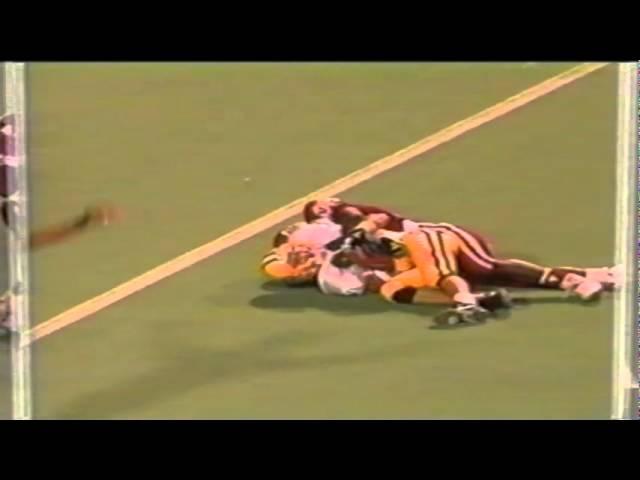 Oregon WR Ronnie Harris 38 yard catch negated by holding call vs. Utah 9-21-91