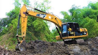 Digging Straightening The River By Excavator CAT 320D Operator