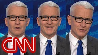 An astonished Anderson Cooper reacts to Trump's claim