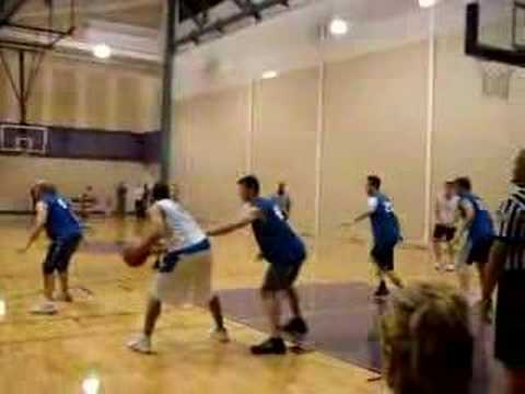 Pro Bowl QB Tony Romo playing in a church league w/ WR Patrick Crayton and UT-Dallas legend Corey Swan. [Note: Romo is the one scoring the bucket...#24 White...