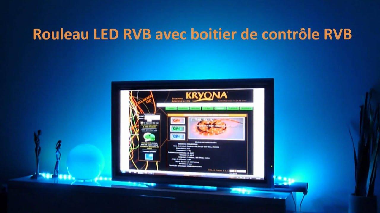 rouleau strip led de couleur rvb rgb avec boitier de contr le t l commande kryona youtube. Black Bedroom Furniture Sets. Home Design Ideas