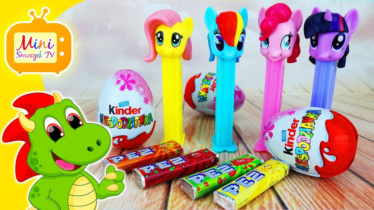 My Little Pony Pinkie Pie, Rainbow Dash, Twilight Sparkle, Fluttershy, Jajka Kinder Niespodzianki