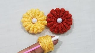 Hand embroidery Amazing Trick,Wow Easy Brazillian Flower Embroidery Trick With finger,Sewing Hack