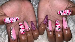 Acrylic Nails Tutorial | Pink Camo Nails | Acrylic Nails