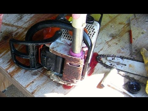Fixing chainsaw bar oil problem with shop vac