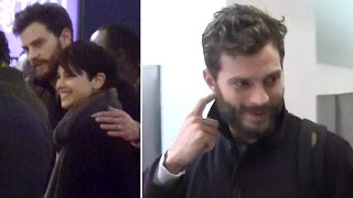 Jamie Dornan Shows PDA With Wife Amelia Warner At LAX