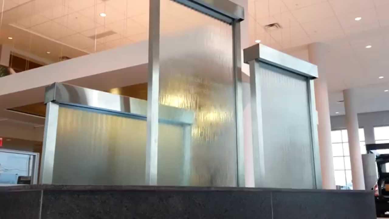 Custom Water Wall Feature Indoor Glass Waterfall Walls