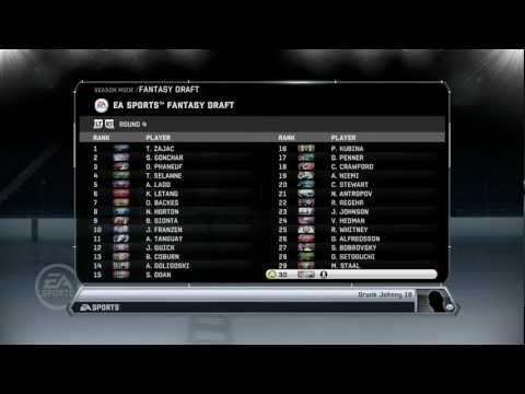 NHL 12: Fantasy Draft Simulation (Part 1)