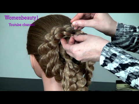 Вечерняя прическа с накладными прядями.  Hairstyle with extensions
