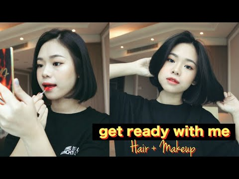 Chill Get Ready With Me | Styling Short Hair + Makeup - YouTube