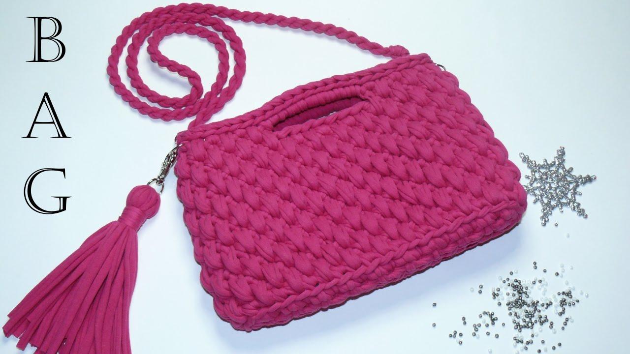Вязание спицами сумки из трикотажной пряжи 17