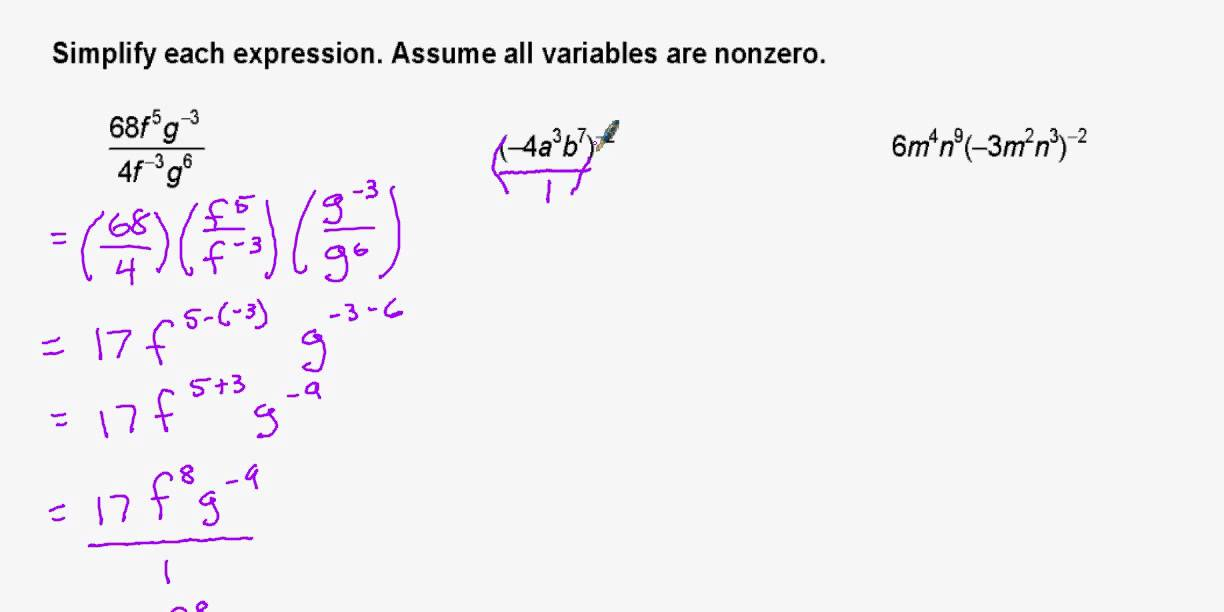 Simplifying Algebraic Expressions With Exponents Youtube