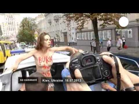 Femen Protest Oksana Femen Protest in Kiev Against
