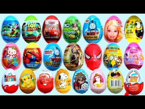 25 Surprise Eggs Kinder Surprise Cars 2 Mickey Mouse Spongebob