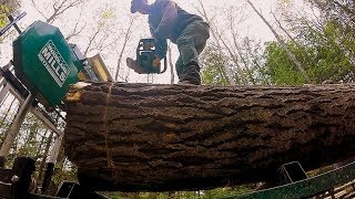 1 Ton Log on my Sawmill! Bad idea?- Log Cabin Update- Ep 9.4