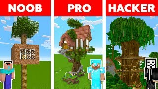 Minecraft NOOB vs PRO vs HACKER : THE BEST TREE HOUSE CHALLENGE in minecraft / Animation