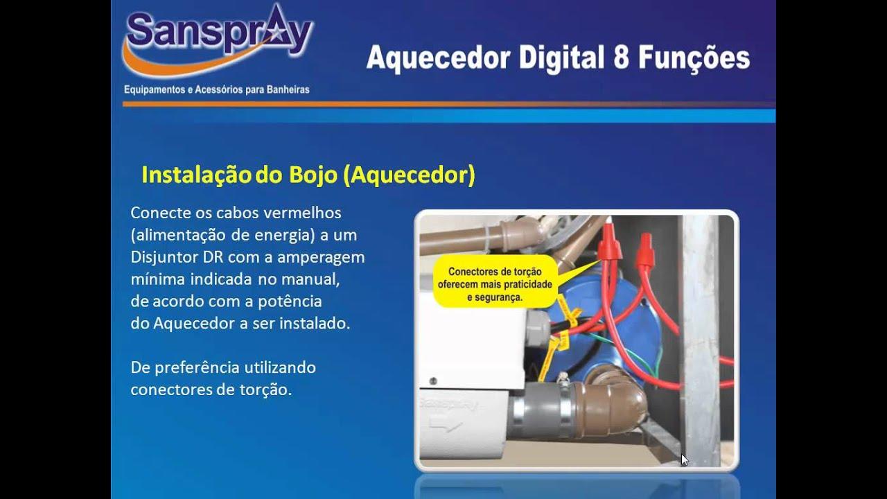 Instalação Aquecedor Digital 8 funções Sanspray   #BFBB0C 1024 768
