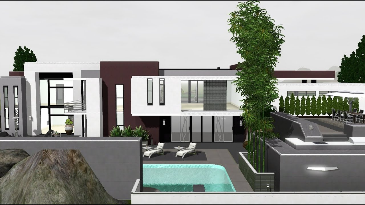 The sims 3 modern celebrity house no cc youtube for Minimalist house the sims 3