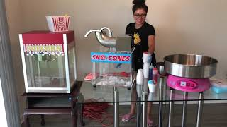 Snow cone, popcorn, and cotton candy machine