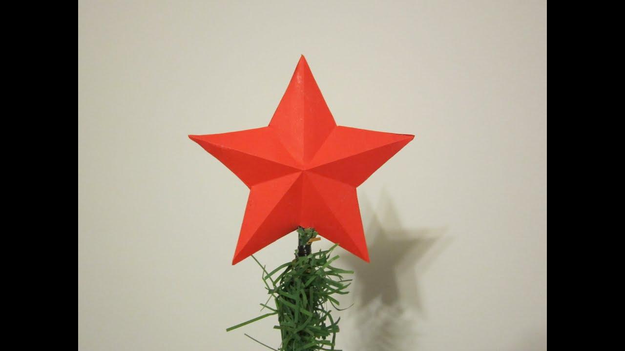 Звезда на макушку елки из бумаги своими