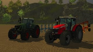 Farming Simulator 2013 plowing with (Fendt 936 Vario , Massey Ferguson 8690)