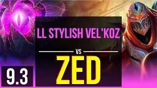 LL Stylish VEL'KOZ vs ZED (MID) | 2 early solo kills | NA Master | v9.3