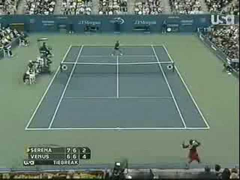 Serena vs. Venus In 2008 US Open Tennis - Incredible Point!
