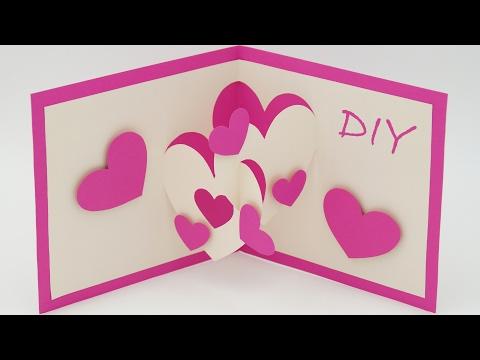 pop up karte basteln mit papier herz diy wasserfall karte bastelideen geschenke. Black Bedroom Furniture Sets. Home Design Ideas