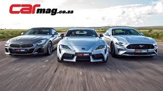 DRAG RACE: BMW Z4 M40i vs Toyota GR Supra vs Ford Mustang GT Fastback