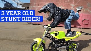 3 Year Old Motorcycle Stunt Rider!