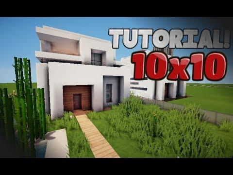 Minecraft como hacer una casa moderna 10x10 tutorial for Como hacer una fachada de casa moderna