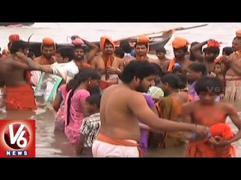 Devotees Throng Bhadrachalam Temple On The Eve Of Hanuman Jayanthi | Khammam | V6 News