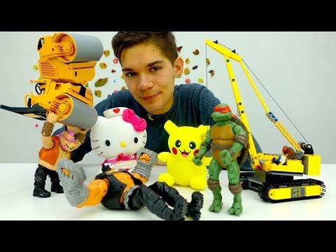 Черепашки Ниндзя и Пикачу (Покемоны) спасают Китти (Хеллоу, Китти). Мультик с игрушками для детей