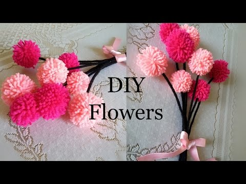 DIY pompom flower idea will help you to give a surprise gift on Valentine day, New year Eve, Birthday parties, Friendship day, mothers day, Fathers day etc., Adorable Pom Pom Gift flowers, Fluffy PomPom flowers with wool, woolen thread craft ideas, Yarn craft for Adults and Girl kids