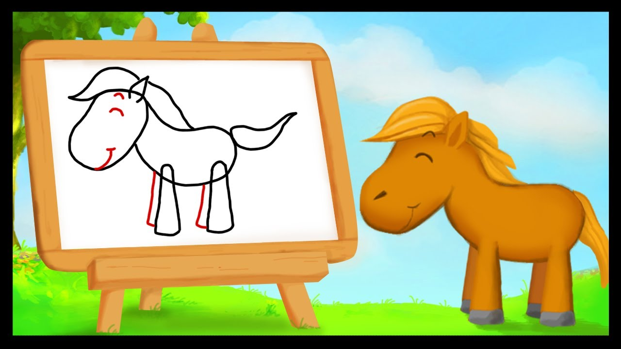 Comment dessiner un cheval youtube - Dessin cheval facile faire ...