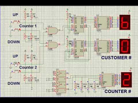7 segment display logic diagram    logic    based electronic queuing system 74192 counter youtube     logic    based electronic queuing system 74192 counter youtube