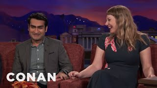 Kumail Nanjiani & Emily V. Gordon Remember Their Courtship Differently  - CONAN on TBS