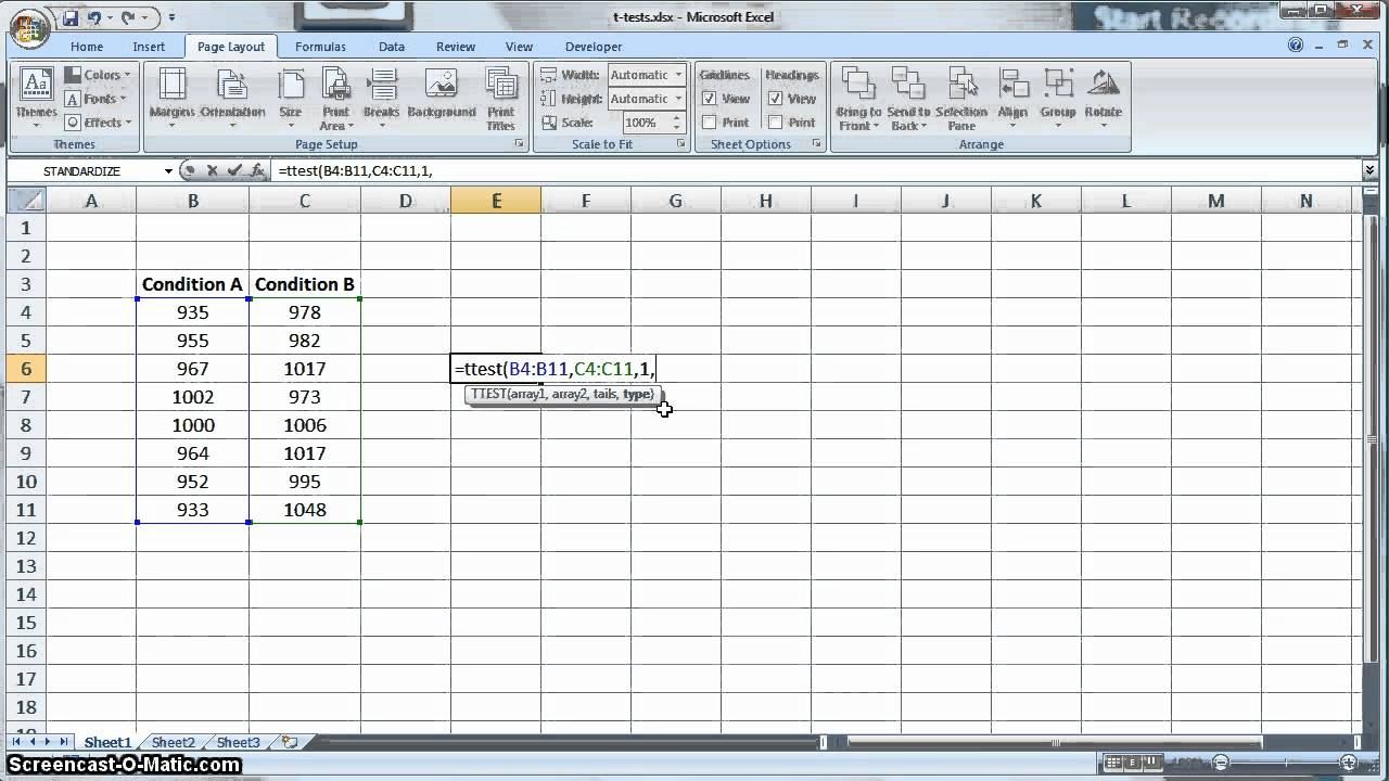 T Test In Microsoft Excel Youtube