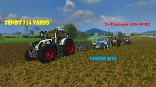 Farming Simulator 2013 Plowing with Fendt 724, Landini 8880 and 2x Fiatagri 180-90 Dt
