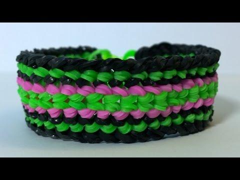 Rainbow Loom Dragon Scale Cuff Double Banded- Double Dragon Scale Bracelet.Diy