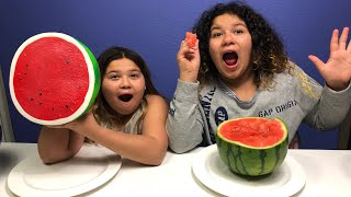 GIANT SQUISHY FOOD VS REAL FOOD CHALLENGE!!