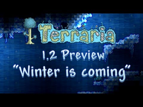 Terraria 1.2 - Ice/Frost biome preview - Viking skeleton. Penguins and Pirate hats!