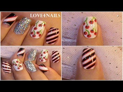 Apples & Cherries Fruity Nail Art Design Tutorial