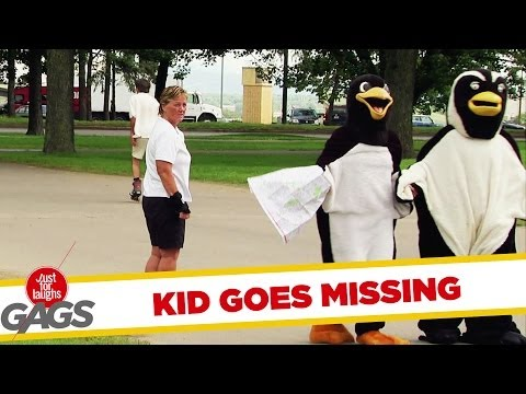 Kid Hides in a Halloween Penguin Suit Trick!