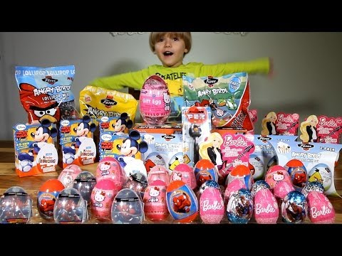 Big Package! Angry Birds Surprise Eggs! Kinder Limited Editions! Barbie, Hello Kitty, Micky ... video