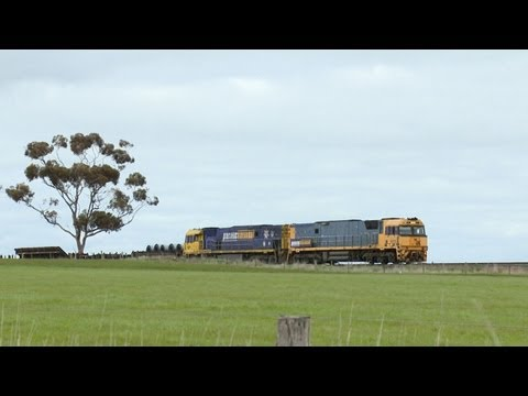 Pacific National Steel Train Near Inverleigh - PoathTV Australian Railways, Railroads & Trains
